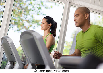 人們, 體操, 年輕, 行使, 跑, 單調的工作