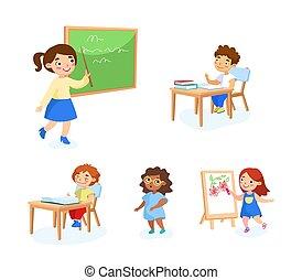 人們, equipment., 學校孩子, painting., 學習, 女生, 矢量, 書, 書桌, 坐, 卡通, 指, 集合, 工具, 黑板, 插圖, 教室, 男學生, 背