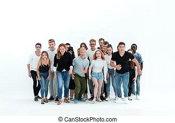 人們, growth., 年輕, 充分, 他們, 微笑, 目標, 加速