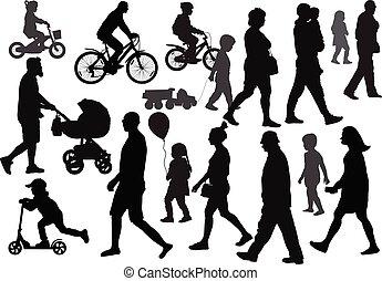 人群。, 不同, 組, 人們, silhouettes., 去, directions., (walking), 觀點。, 邊
