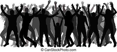 人群。, 充分, 人們, 人們。, 快樂, 黑色半面畫像, 矢量, 成長