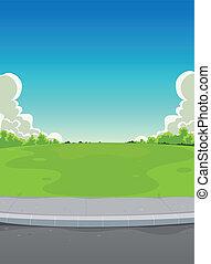 人行道, 公園, 背景, 綠色