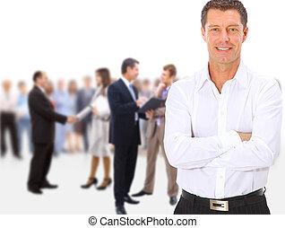 人 事務, 人群, 站, 背景, 長度, 被隔离, 充分, 隊, 組, 白色