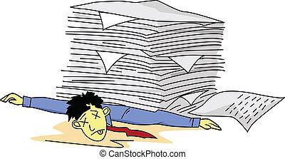 人, 文書工作, 疲倦, 在下面