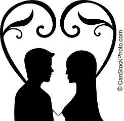 人, 矢量, 黑色半面畫像, 婦女, 愛