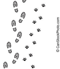 人, 腳, 狗, 列印