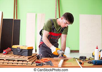 人, 車間, 木匠, 工作, 年輕