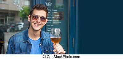 人, 酒吧, 或者, 年輕, pub, 啤酒, 喝酒
