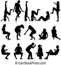 人, illustration., 坐, 姿態, 背景。, 黑色半面畫像, 矢量, 黑色, 白色, 婦女