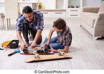 他的, 年輕, 家, 滑板, 父親, 兒子, 修理