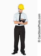 他的, 注釋, 剪貼板, 拿, 領班, 年輕
