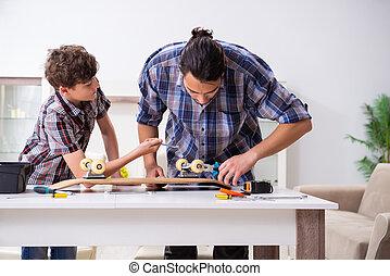 他的, 父親, 滑板, 修理, 家, 兒子, 年輕