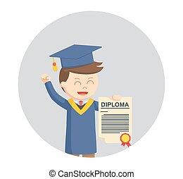 他的, 背景, 顯示, 畢業証書, 畢業生, 學生, 環繞, 男性