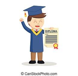 他的, 顯示, 畢業証書, 畢業生, 學生, 男性