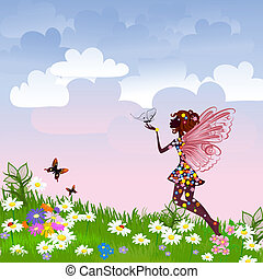 仙女, 天上, 草地, 花