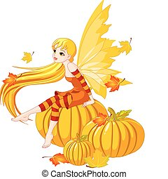 仙女, 秋天, 南瓜