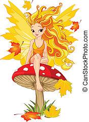 仙女, 秋天, 蘑菇