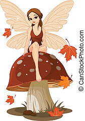 仙女, 蘑菇, 秋天