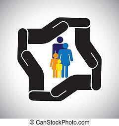 代表, 圖表, 孩子, 家庭, 事故, 保護, 等等, 也, 概念, 安全, 父親, vector., 母親, 健康保險, 或者
