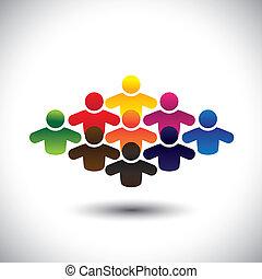 代表, 圖表, 概念, 組, 鮮艷, 人們, 學生, 形成, 摘要, 圖象, -, 社區, 或者, 也, 顏色, 工人, 各種各樣, vector., 雇員, 孩子, 執行