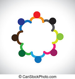 代表, 圖表, diversity., 差异, 孩子, &, 這, 形成, 玩, 人們, 孩子, 也, 概念, 配合, 罐頭, 扣留手, 包含, 隊, 公司, circle.