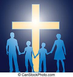 以前, 基督教徒, 家庭, 站立, 發光, 產生雜種