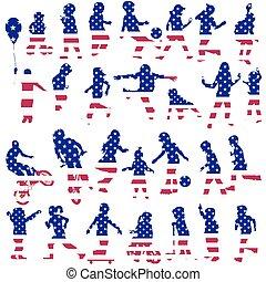 仿造, 集合, 美國, 黑色半面畫像, 旗, 孩子