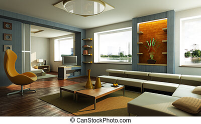 休息室, 內部, 現代的房間