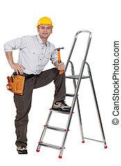 休息, 腿, 梯子, 木匠, 藏品, 錘子