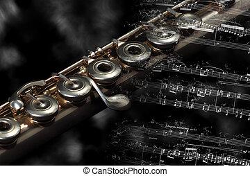 休息, 音樂儀器, 銀, 得分, 長笛, 燃燒