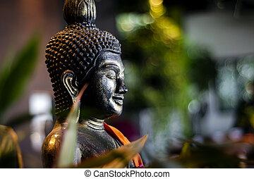 佛, 泰國, 內部, 熱帶, 雕像, 花園, 酒吧