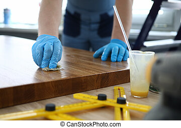 作品, 表面, 覆蓋, 手套, 木匠