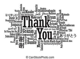 你, 多种語言, 詞, 感謝, 雲
