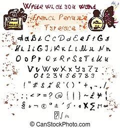 你, 手, 信件, 心不在焉地亂寫亂畫, 墨水, 上面, 畫, 降低, 集合, 喜劇演員, abc, 案件, glyphs, 設計, 洗禮盆