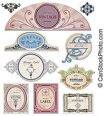 你, 標籤, 矢量, 葡萄酒, 彙整, design.