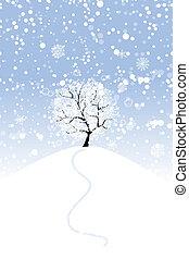 你, 設計, 樹冬天, 小山
