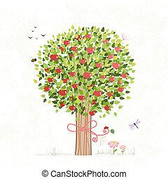 你, 設計, 樹, 蘋果, 弓