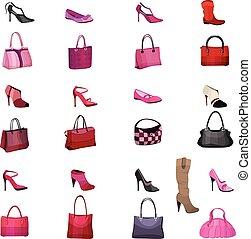 你, posters., 袋子, 通告, 設計, 鞋子, 集合, 被隔离, 白色, 婦女, 對象, 廣告, 背景。