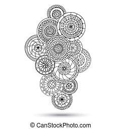 佩斯利螺旋花紋呢, 指甲花, 設計, mehndi, doodles, element.
