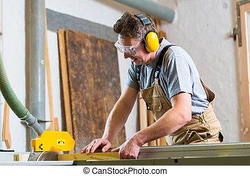 使用, 木工工作, 看見, 電, 木匠