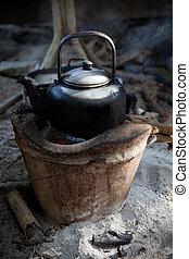 使用, 老, 溪, 爐, 水壺, 水, 傳統