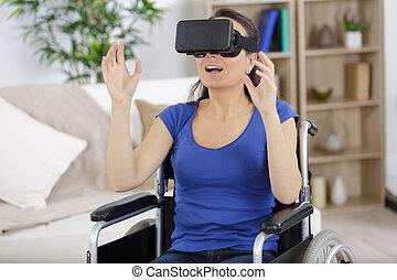 使用, 輪椅, 現代, 眼鏡, 婦女, 虛擬辦公室, 現實