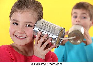 使用, 錫, 孩子, 通訊, 罐頭