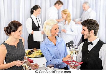 侍者, 婦女, 開胃酒, 拿, 事務