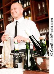 侍者, 酒吧, 酒瓶子, 餐館