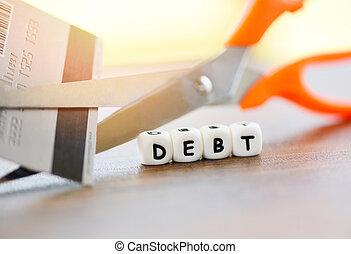 保護, 傷口, 金融, 支付, 停止, /, 信用, 削減費用, 錢, 剪刀, 債務, 危機, 卡片