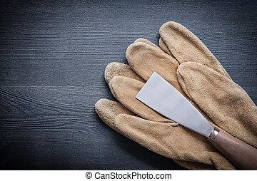 保護, 刮刀, 畫, 木頭, 手套, 板