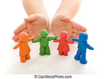 保護, 孩子, 黏土, 人們, 手