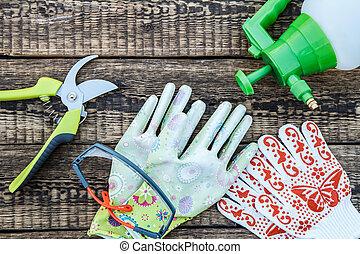 保護, 花園, 木制, 壓力, 噴霧器, 手套, board., pruner, 眼鏡