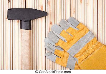 保護, 錘子, gloves.